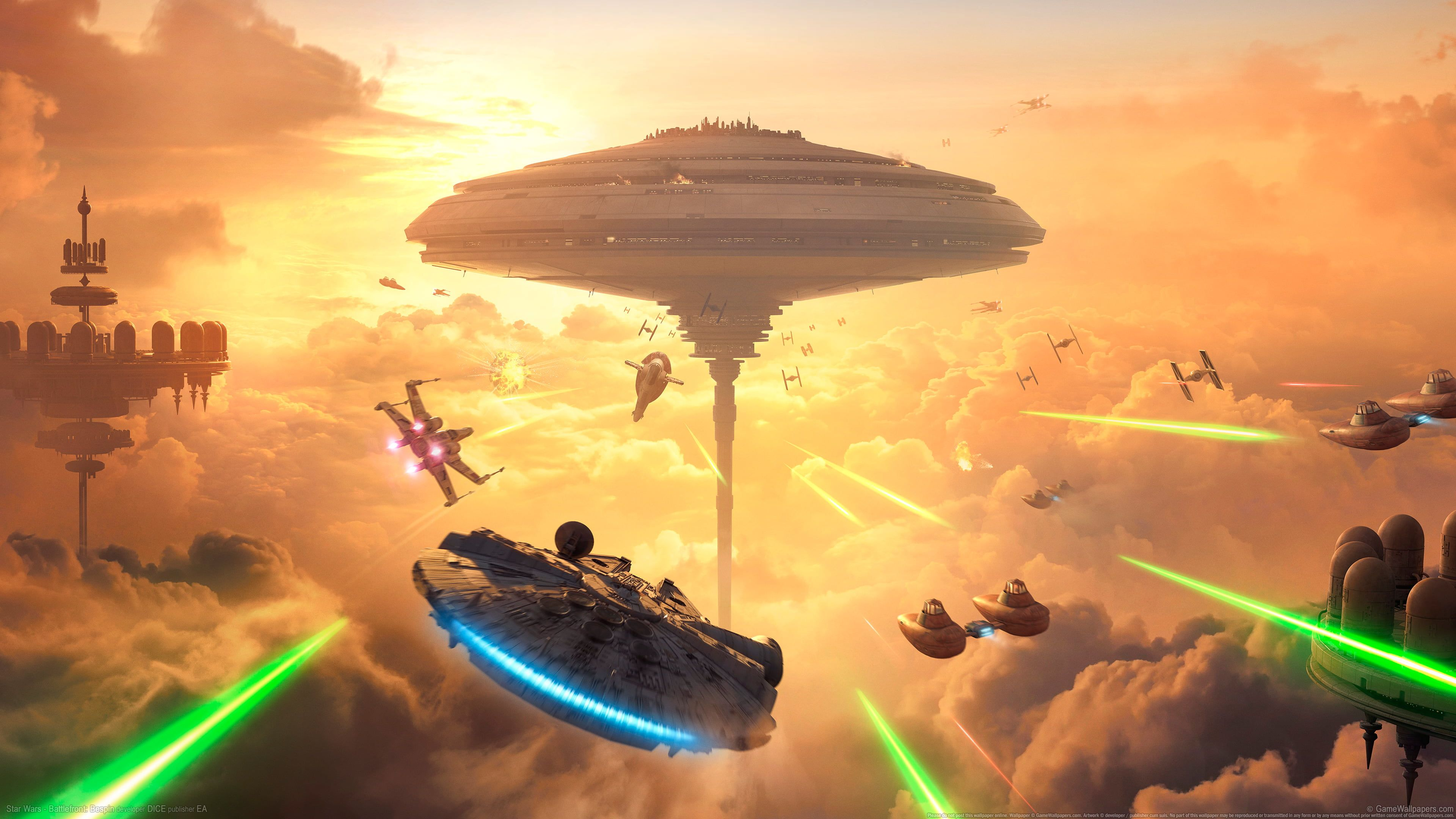 Star Wars Millennium Falcon Digital Wallpaper Star Wars Battlefront Bespin Millennium Falcon Cloud City Vide In 2020 Digital Wallpaper Cloud City Star Wars Wallpaper
