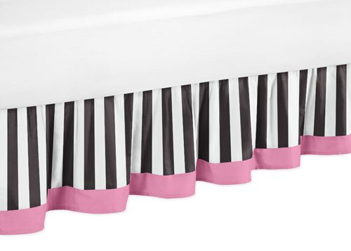 Paris Pink Black And White Bed Skirt For Toddler Bedding Sets