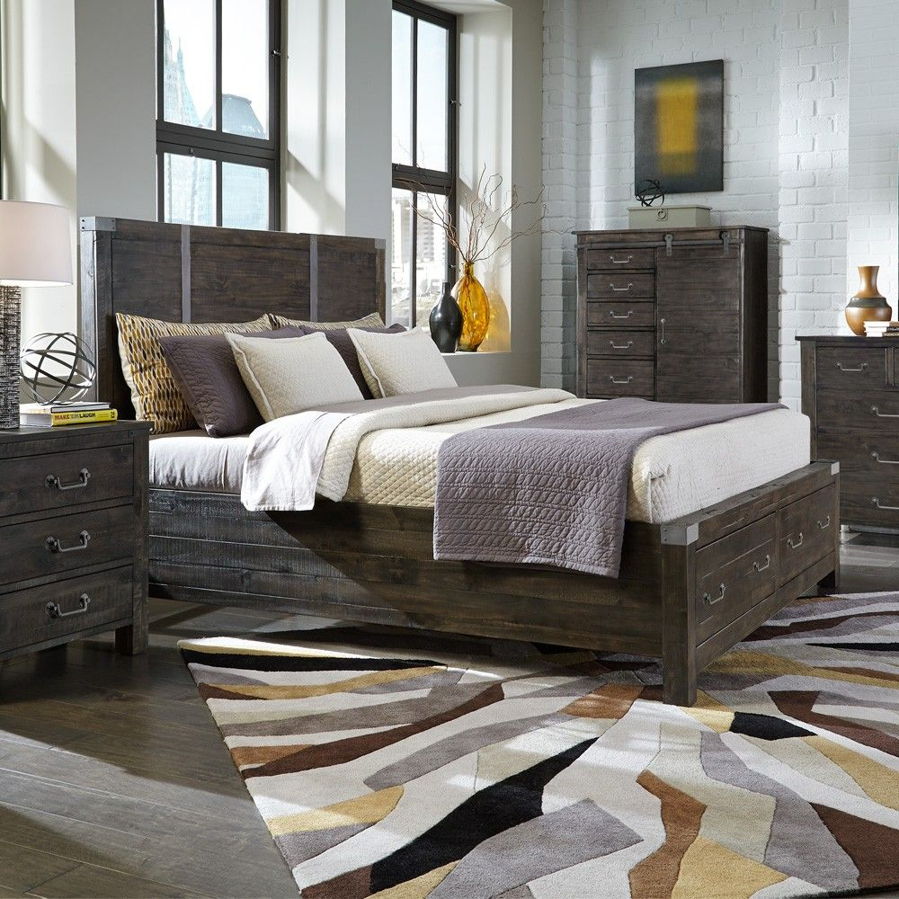 $547 abington wood panel bed in weathered charcoal by magnussen