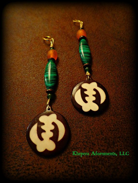 Malachite Sankofa Dangle Earrings  Adinkra by KheperaAdornments,