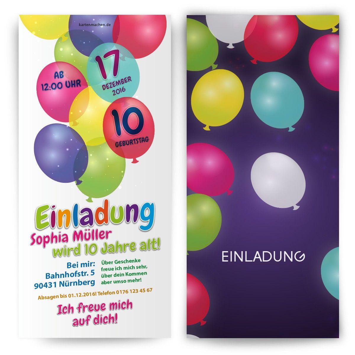 kindergeburtstagseinladung - bunte ballons #geburtstag #einladung, Einladungen