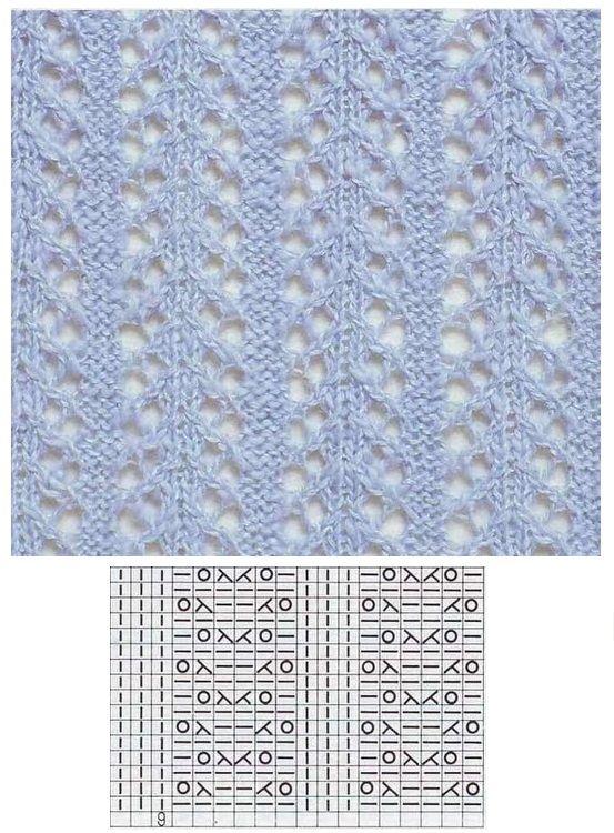 Lace knitting einfaches Lochmuster übertragen | knitting stitch ...