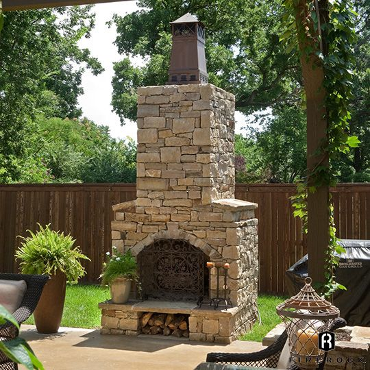 Outdoor Fireplace With Knight Chimney Cap Outdoor Fireplace Kits Backyard Fireplace Outdoor Fireplace