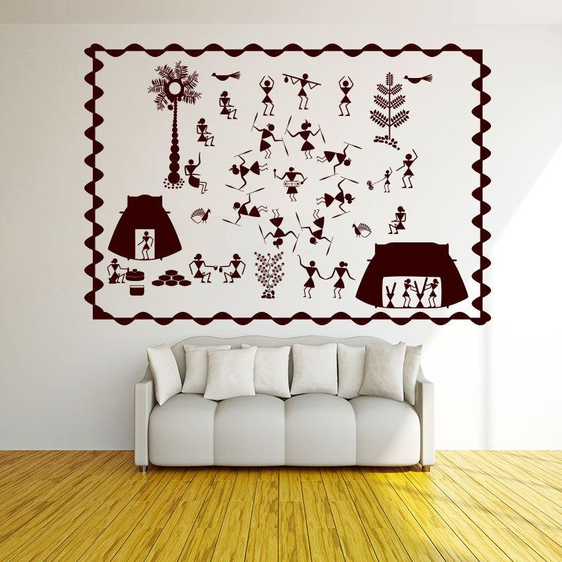 Warli Party Wall Decal Room Wall Art Diy Wall Painting Folk