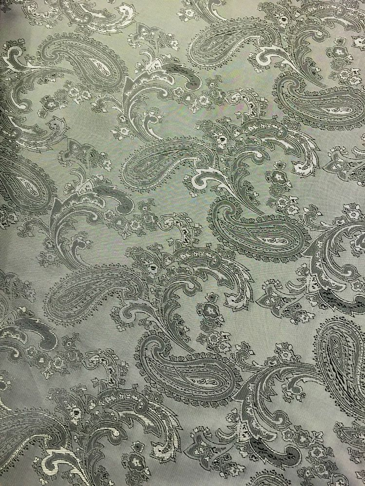 Paisley Jacquard Woven Silver / Grey Two Tone Fabric - By Meter - 58  145cm Wide