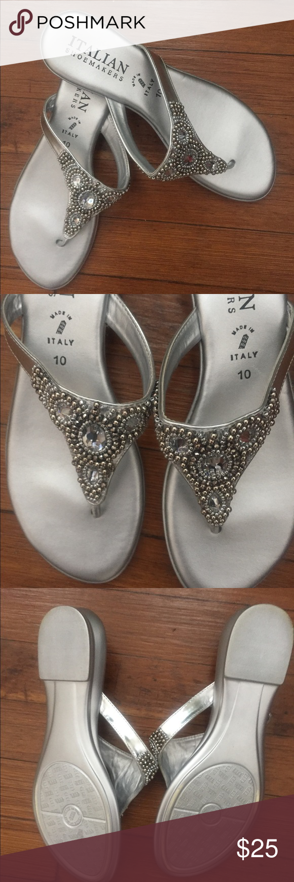 "f9ad12ed6e11 EUC Italian Shoemakers Mystify sandals. Size 10 Beautiful silver jeweled  sandals. 1"" heel. Never worn outside. Made in Italy."
