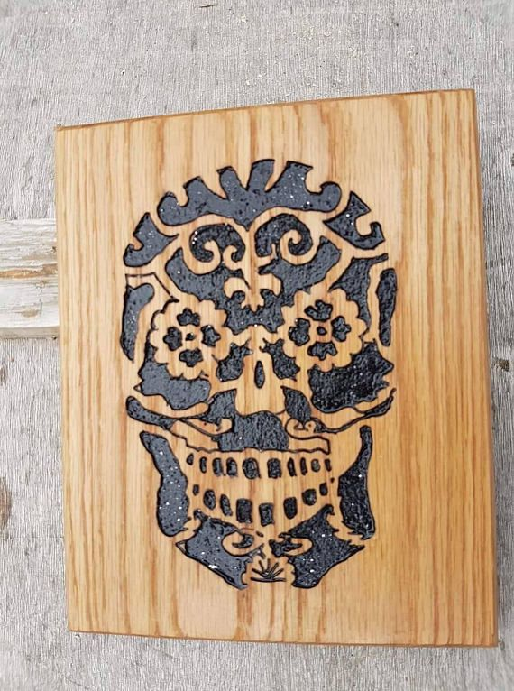 Sugar Skull Day Of The Dead Hand Carved And Painted Wooden Wood