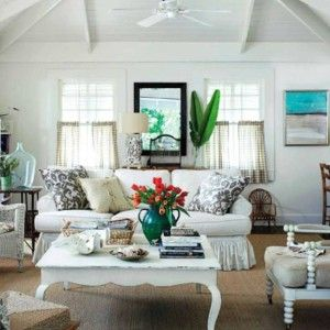 Beach Cottage Style Living Rooms With Vintage Chairs And Table Sofa Small Indoor Plant Cafe Curtains