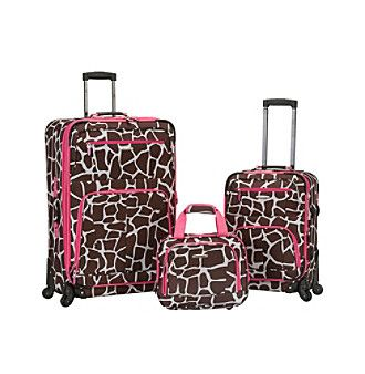 Rockland Pasadena 3-pc. Pink Giraffe Luggage Set
