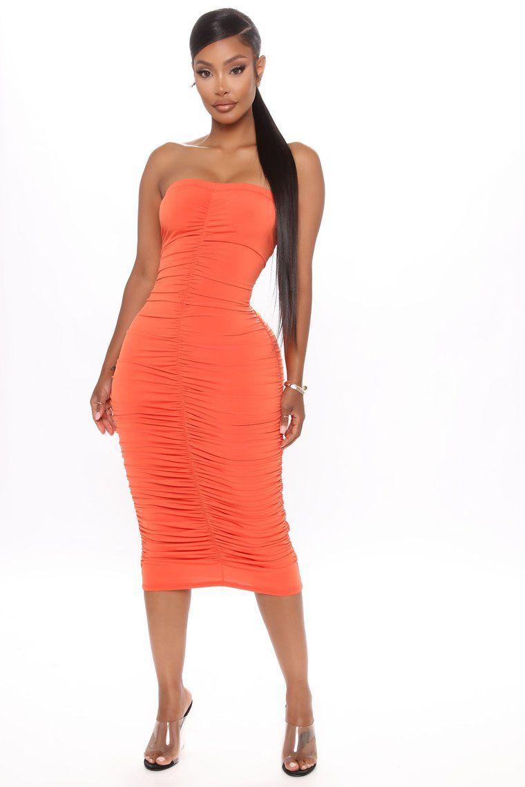 One Hot Mamacita Ruched Midi Dress Orange Ruched Midi Dress Fashion Nova Dress Dresses [ 1140 x 760 Pixel ]