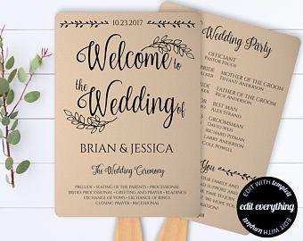 Rustic Wedding Program Template - Printable Program - Wedding Fans ...