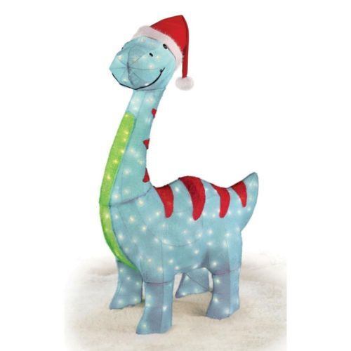 45 pre lit blue brontosaurus dinosaur santa 3 d tinsel for Animated tinsel dinosaur christmas decoration