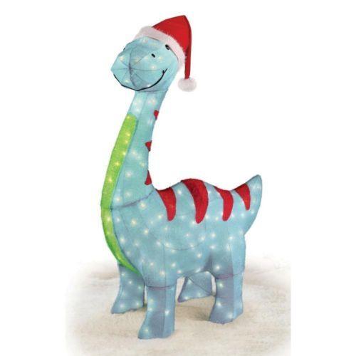 45 Pre Lit Blue Brontosaurus Dinosaur Santa 3 D Tinsel Christmas Yard Art Decor