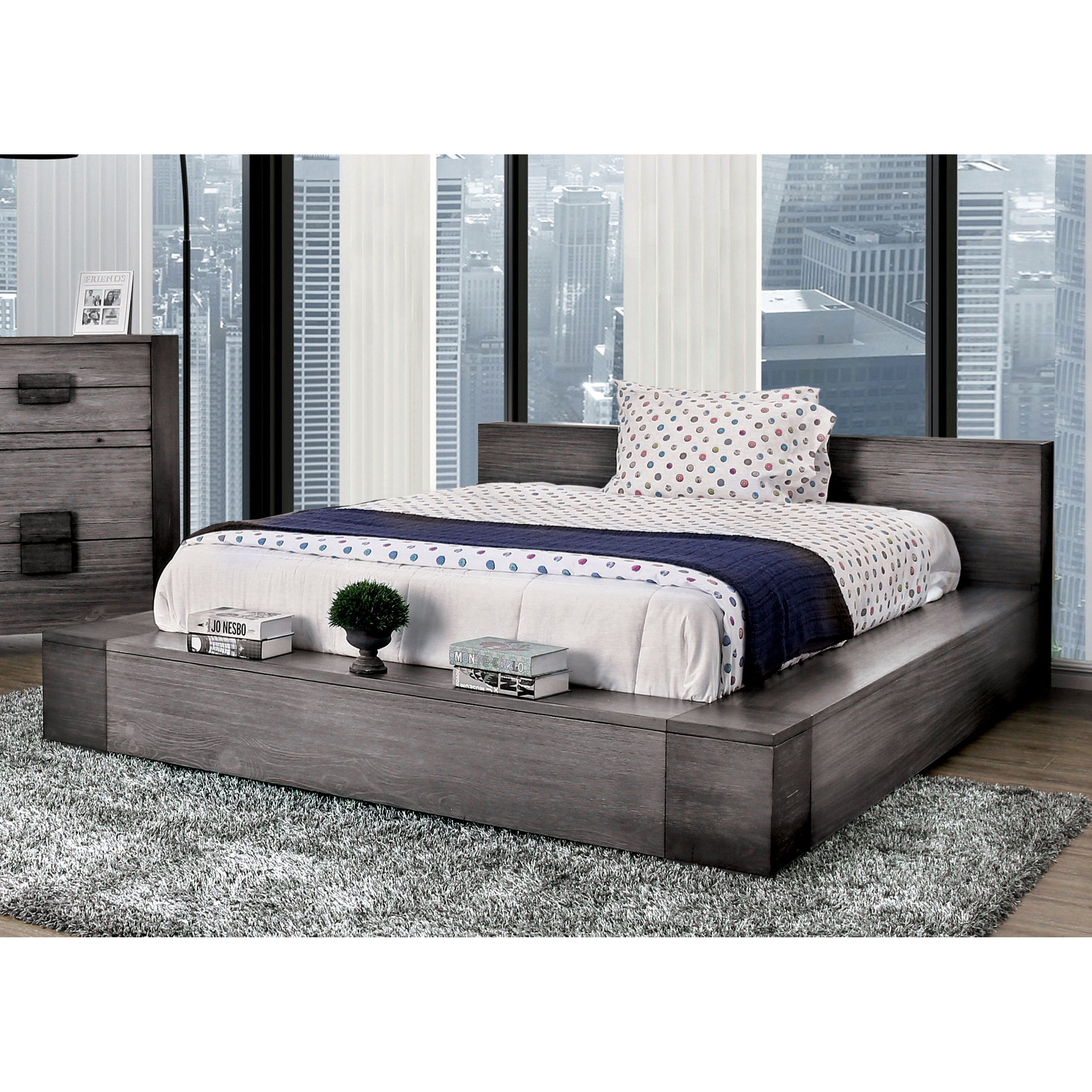 Furniture Of America Fist Contemporary Grey Wood Low Profile Bed