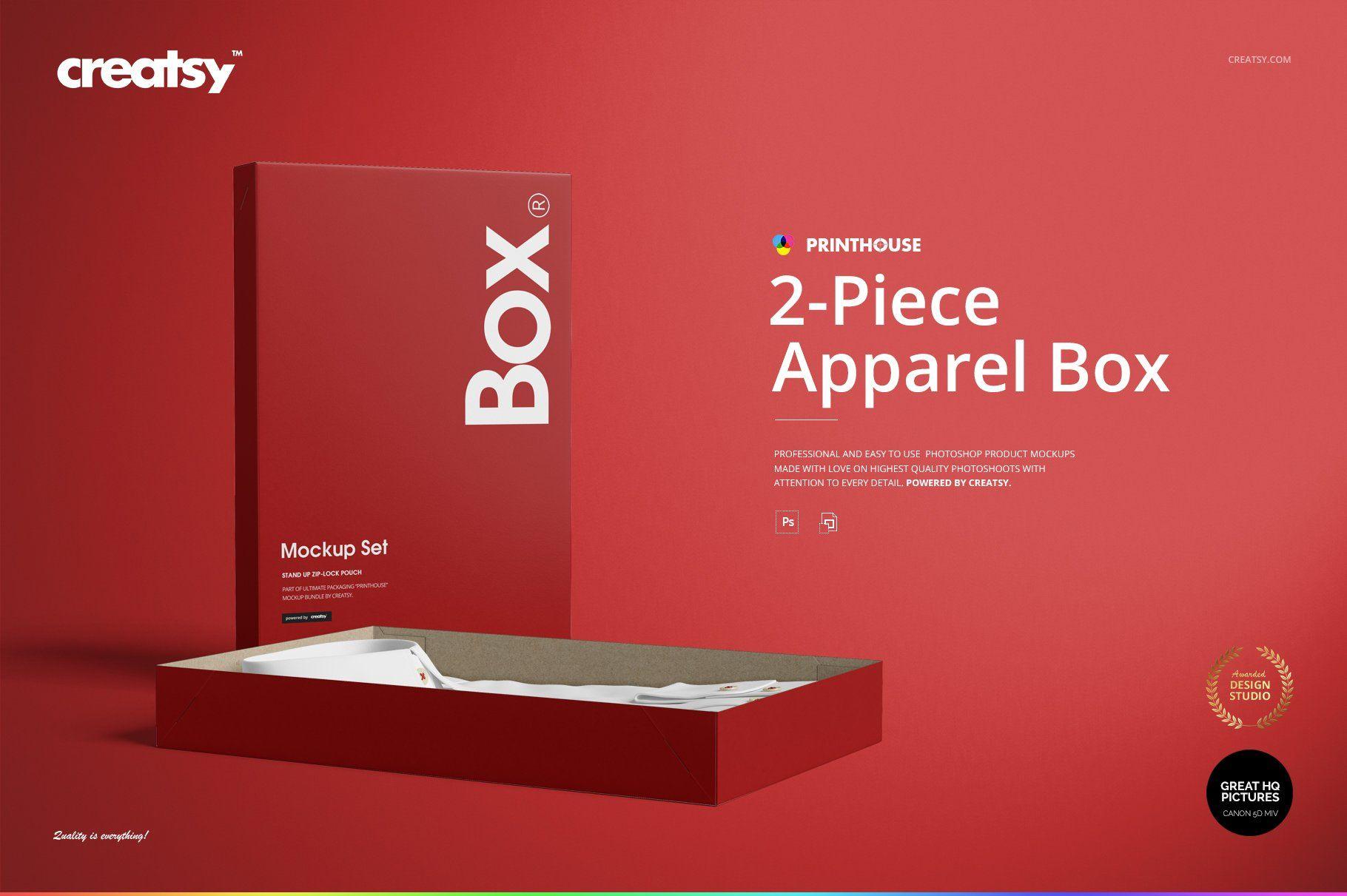 Download 2 Piece Apparel Box Mockup Set Box Mockup Mockup Bag Mockup