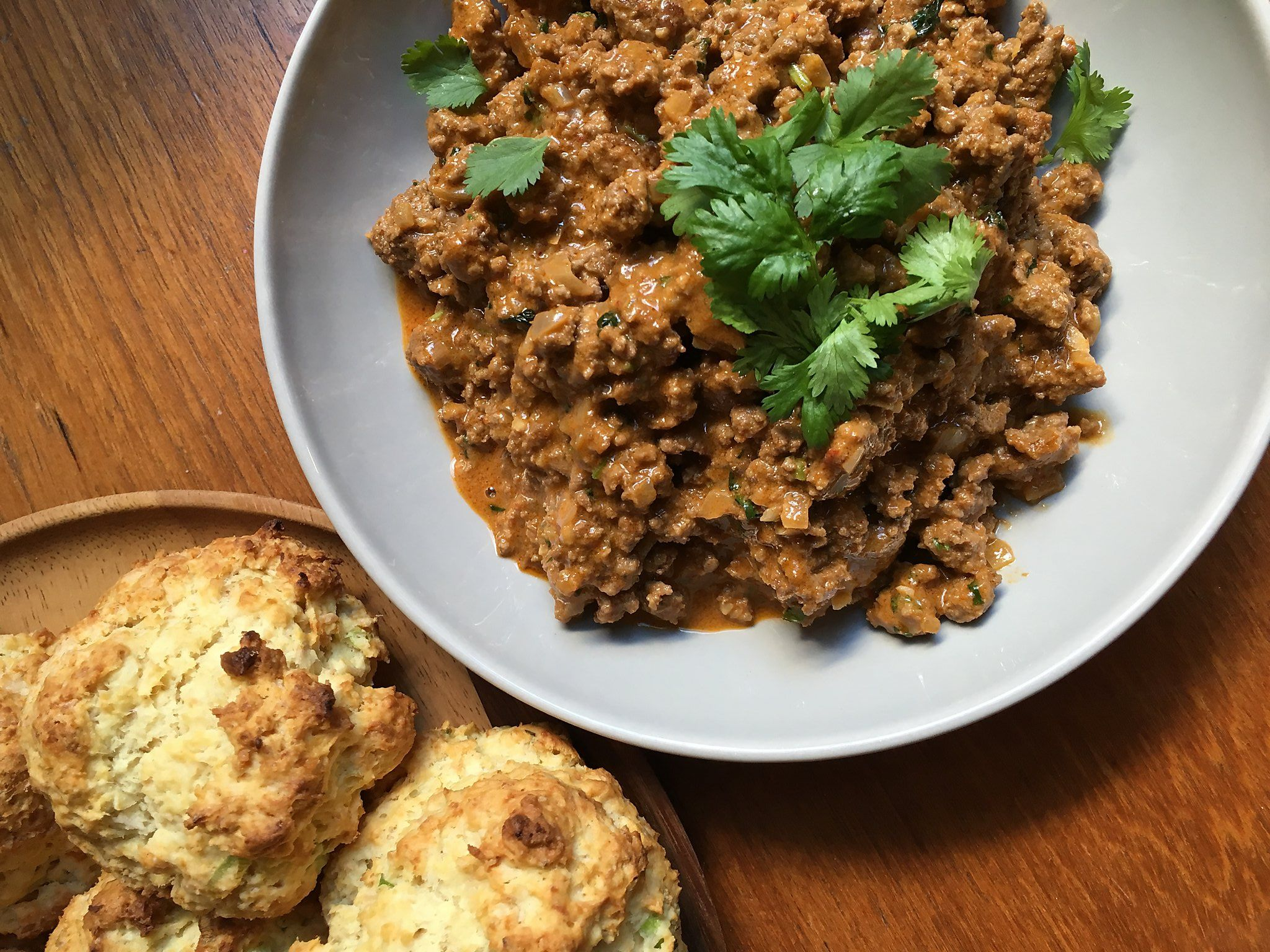 Recipe: Curried Sloppy Joes with Coconut-Green Onion Biscuits ...