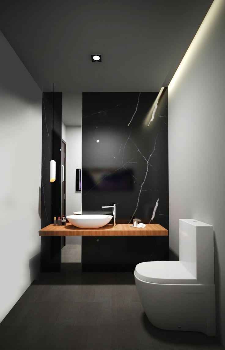 Ein Weiteres Kleines Bad Mit Schwarzer Marmorwand Kleines Marmorwand Schwarzer Wall Badezimmereinrichtung Minimalistisches Badezimmer Inneneinrichtung