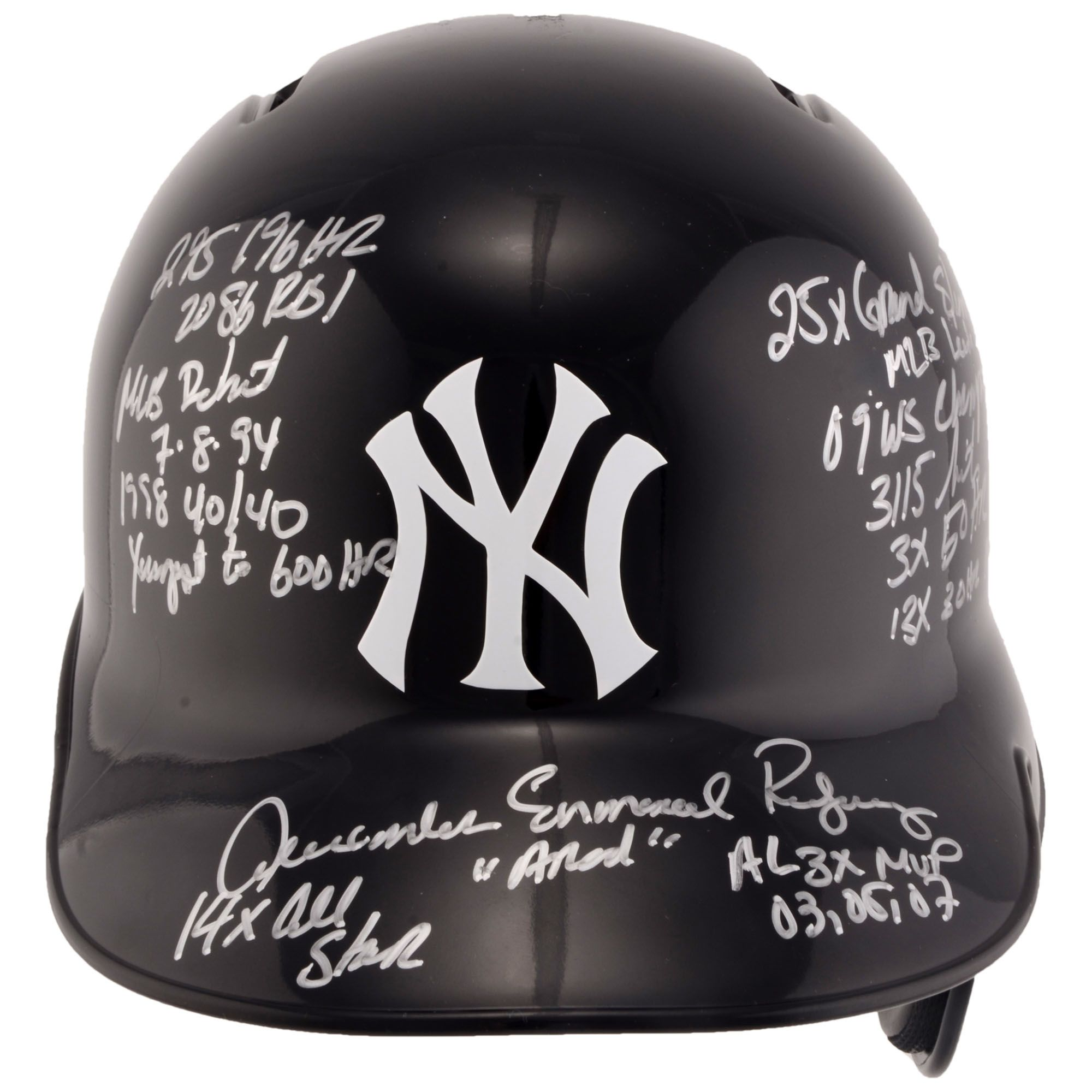 Mlb Alex Rodriguez New York Yankees Fanatics Authentic Autographed Replica Batting Helmet With Career Stats Insc Batting Helmet New York Yankees Alex Rodriguez