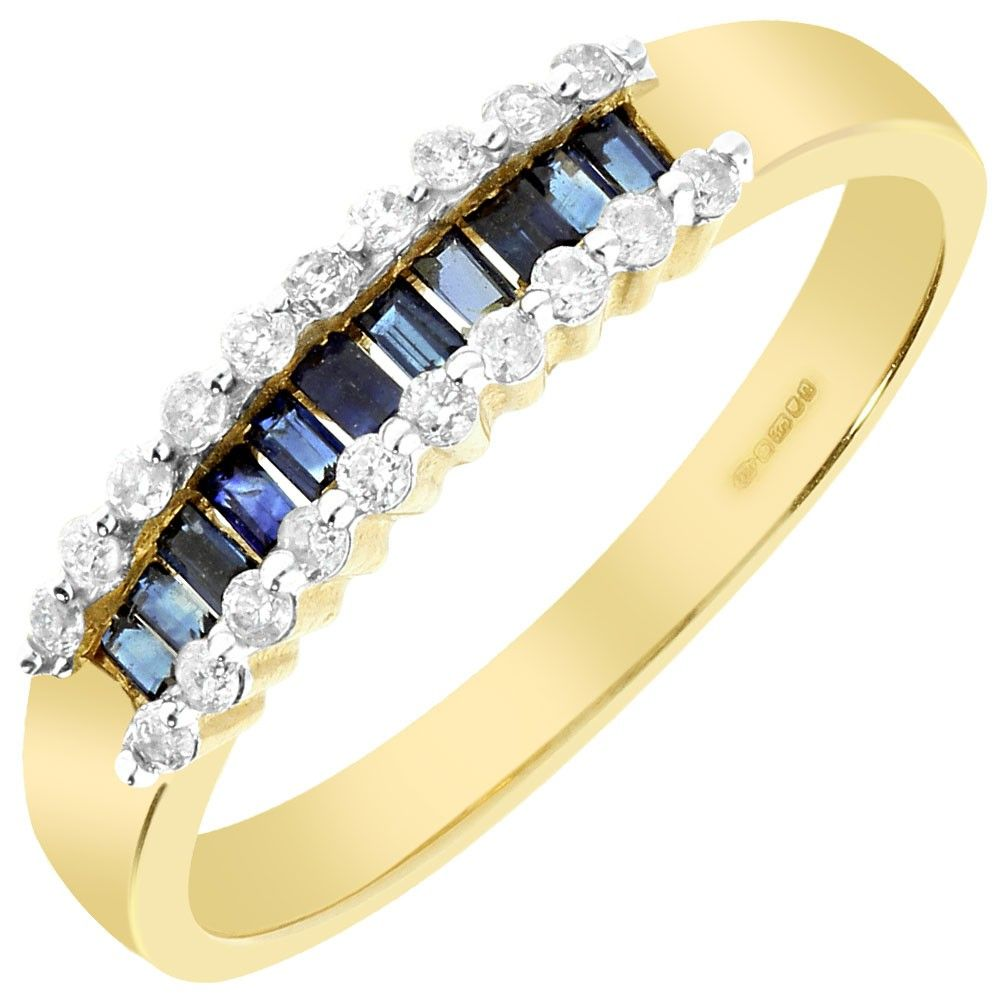 9ct gold baguette sapphire and diamond ring