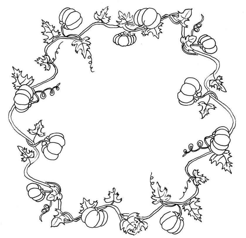 Fall Wreath Coloring Pages Kit Wreath Drawing Vine Drawing