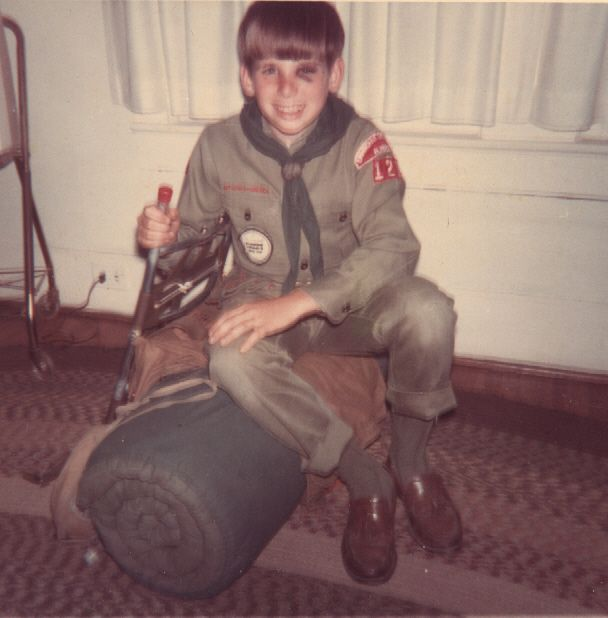 Off To Scout Camp ! 1968. One last pose in my boy scout uniform before heading out with Troop 120 in Pleasant Grove, Alabama to Camp Arrowhead, for a week of pure outdoor fun on the banks of the Coosa river. Look at the huge size of my sleeping bag back then, but it was comfortable. Nice tassels on my loafers too. (lol) Great times and days with my buddies that I will treasure forever. (Dave Brock photo).