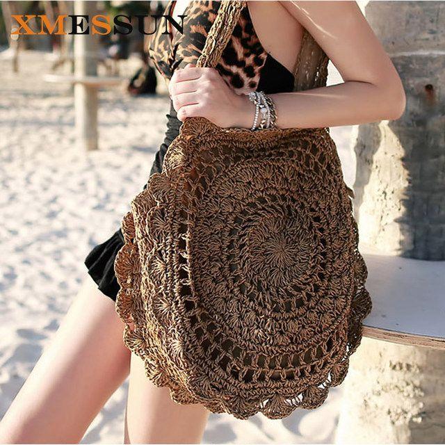 XMESSUN 2019 Bohemian saman torbaları Kadınlar için Büyük Daire Plaj Çanta Yaz Vintage kamış örgü çanta El Yapımı Örme Seyahat Çantaları C78