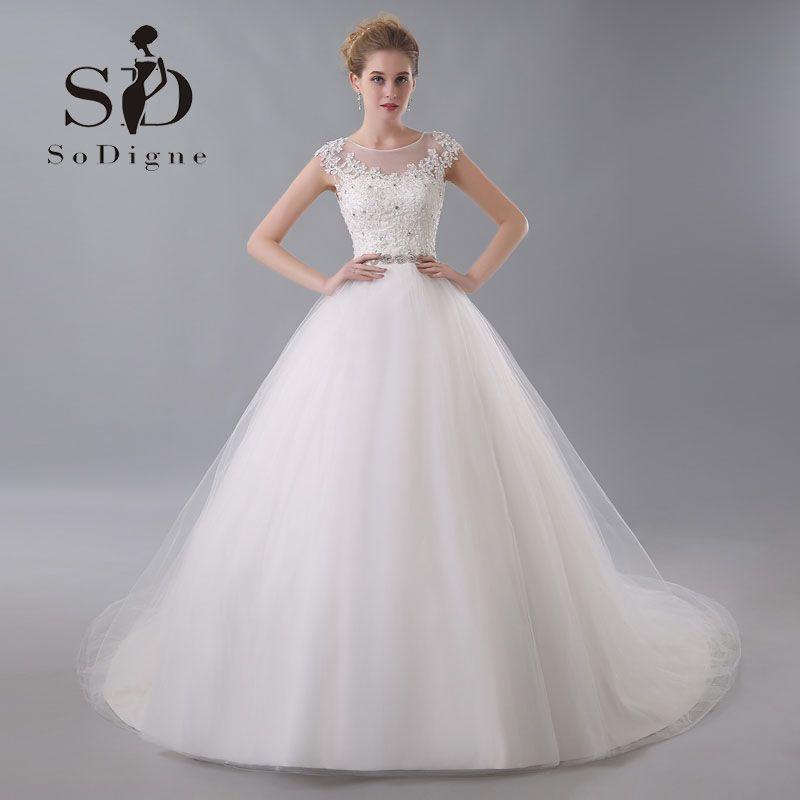 39a2a7fda5d4 Wedding Dress 2017 SoDigne Elegant Lace Applique Customized Beaded Cap  Sleeve Rhinestone Nude Back Vestido De
