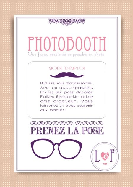 affiche photobooth deco mariage pinterest photo booth mariage and wedding. Black Bedroom Furniture Sets. Home Design Ideas