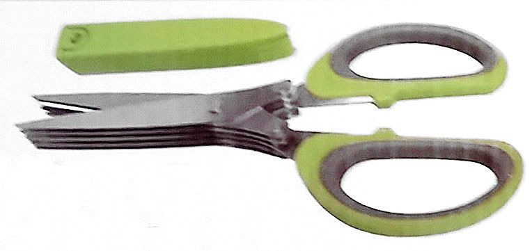 Herb Scissors Kitchen Gadget Cover 5 Stainless Steel Blades Cut Dice Herbs 7.5in #HGE