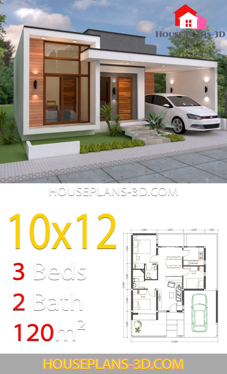House Design 10x12 With 3 Bedrooms Terrace Roof House Plans 3d Minimalist House Design House Plans House Construction Plan