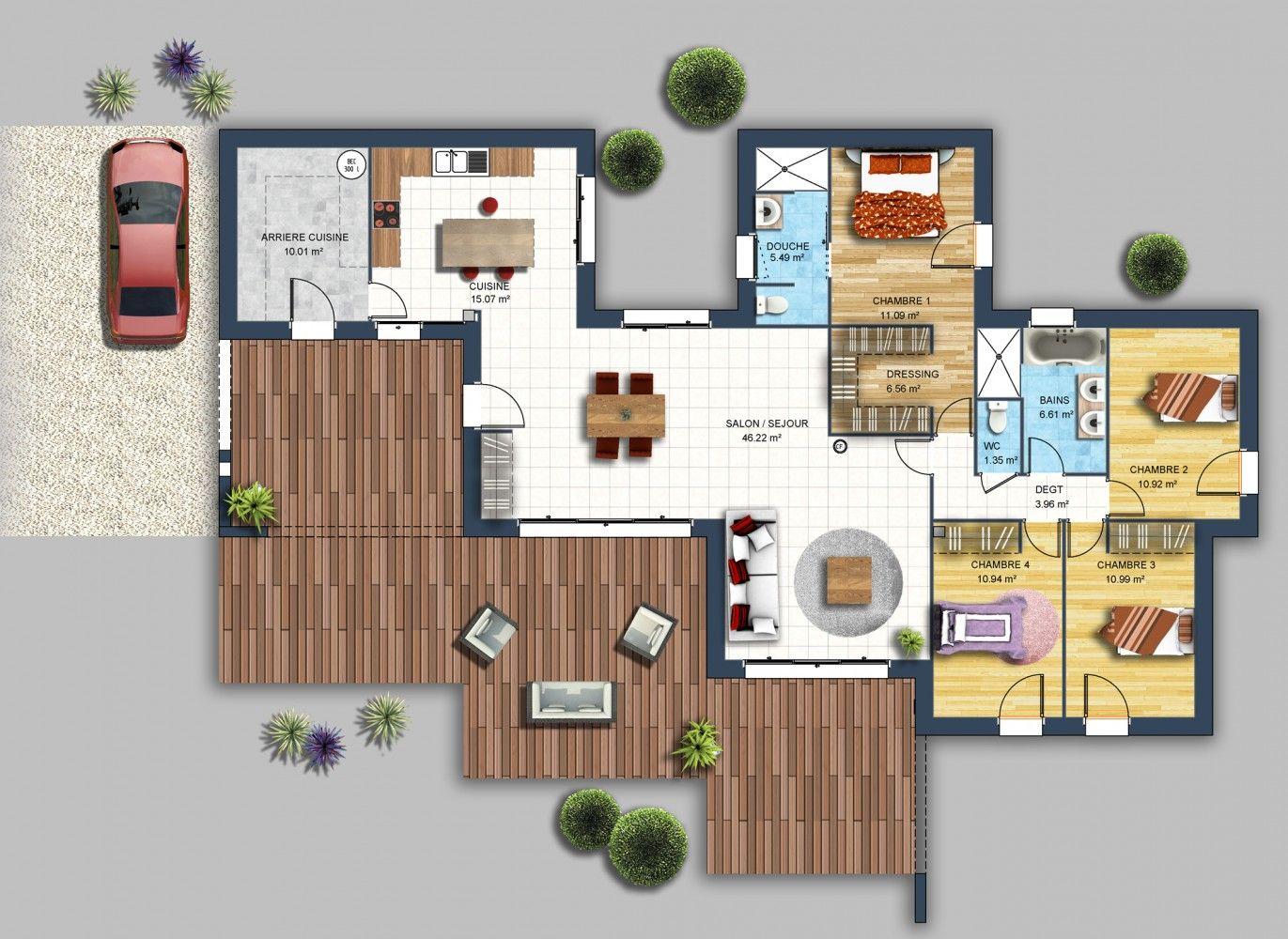 Constructeur maison moderne le cellier loire atlantique 44 - Plan maison plein pied moderne ...
