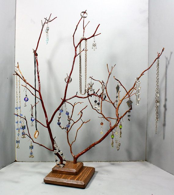 Jewelry Tree  Large Twin Branch Manzanita  1111 by RedBarkDesigns, $38.00