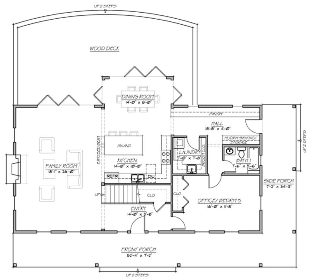 Farmhouse plan my dream house has an open concept living for Open concept house plans