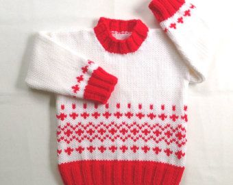 3fd23518b Red handknitted baby sweater - 6 to 12 months - Holiday baby sweater ...