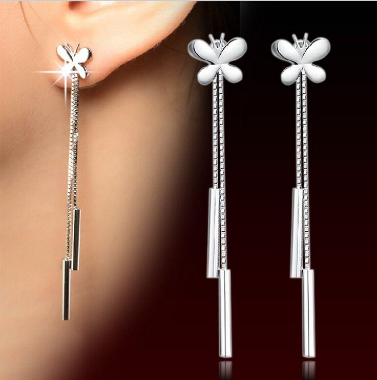 S925 pendientes de plata de la moda europea y americana retro pendientes borla pendientes pernos prisioneros del oído para mujeres de la joyería