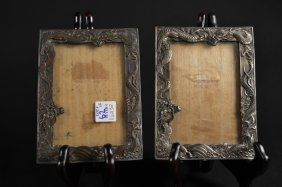"""Pair of Mixed Metal Antimony Picture Frames depicting Dragons. Size : 7"""" x 5"""""""