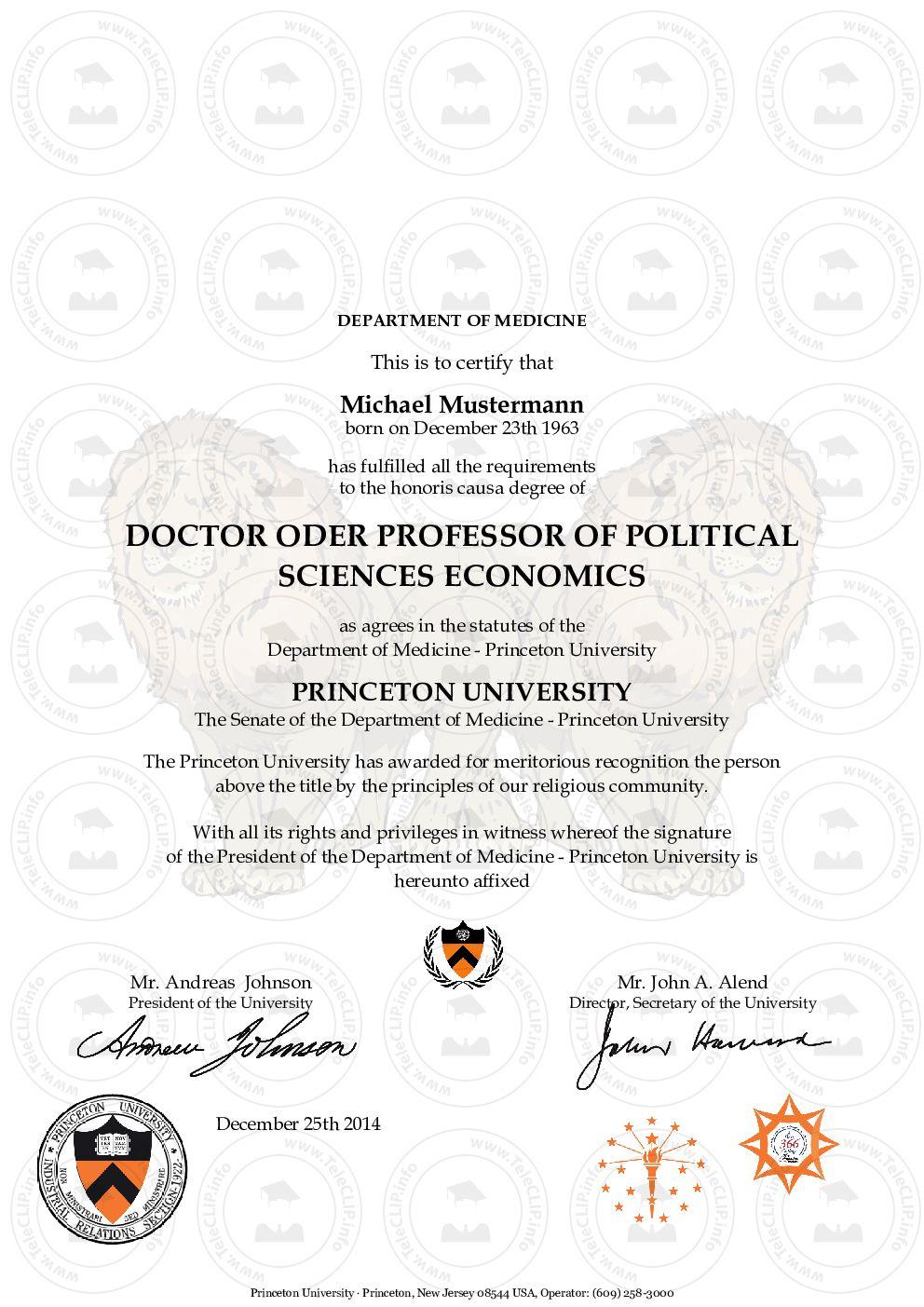 Princeton Doktortitel kaufen, Diplom Urkunde kaufen, Zeugnis kaufen ...