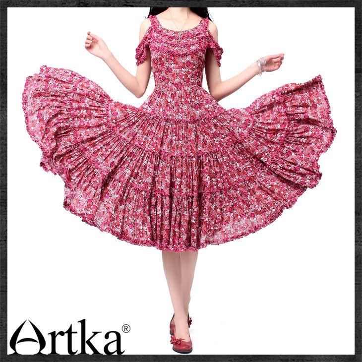 Платья : Летнее платье с юбкой-крестьянкой, украшенное рюшами