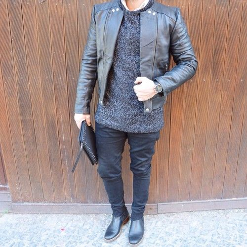 Black Quilted Double Zipper Biker Cowhide Leather Jacket - Freeman | by VIPARO