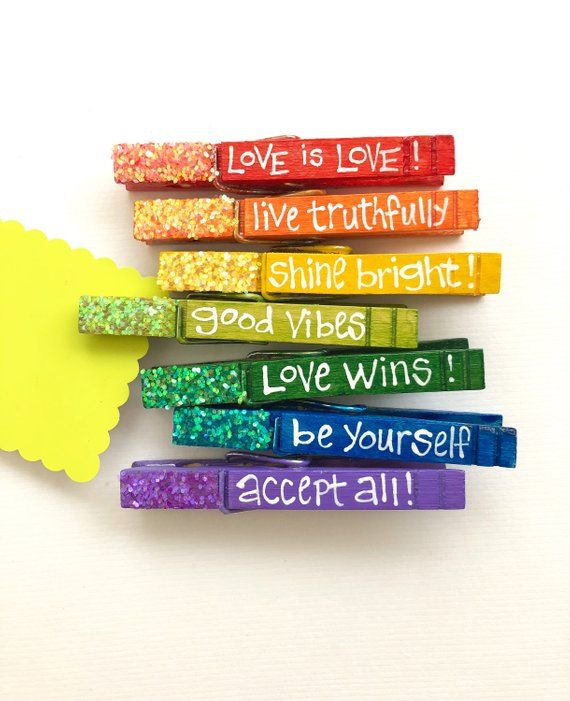 Rainbow Inspirational Clothespins Gay Pride Decoration Magnetic Hand