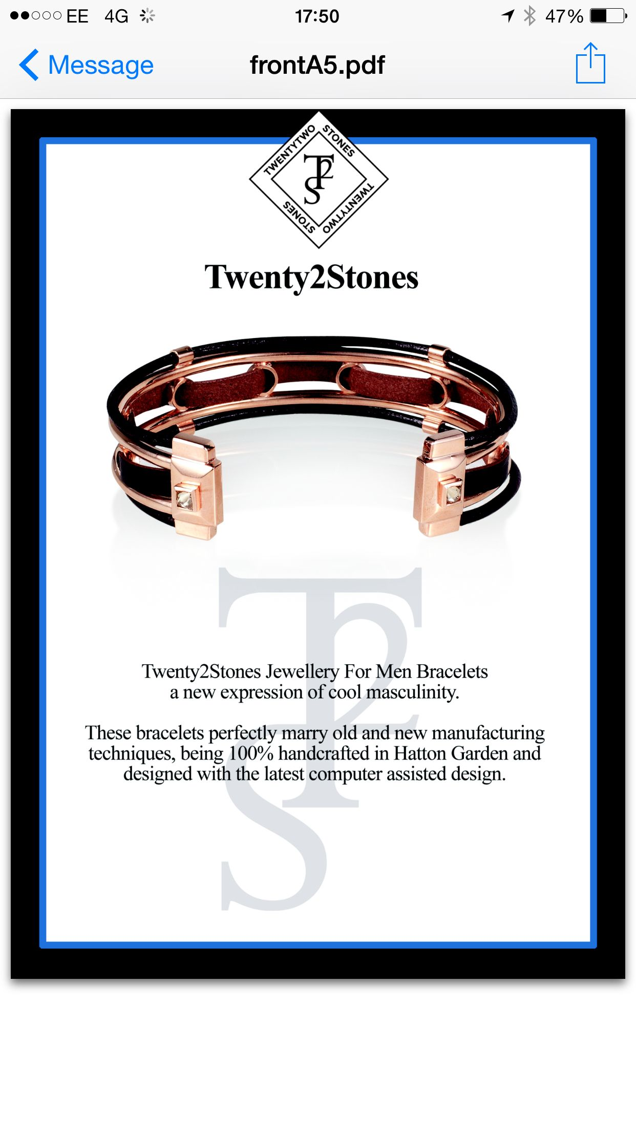 Twenty2 Stones men's bracelet nominated for fashion accessory of the year.