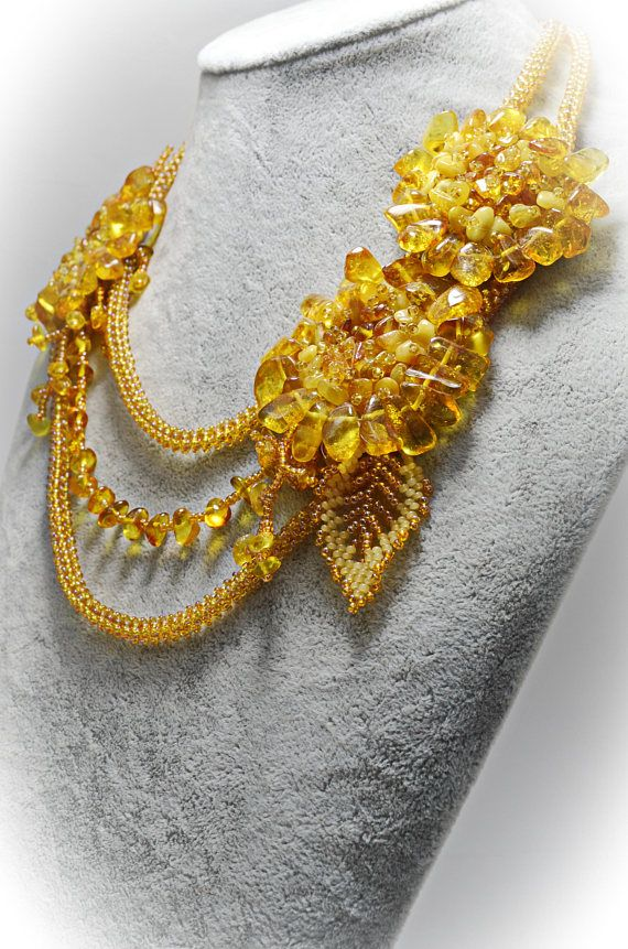 a82caeb92d Yellow Amber Triple Strand Necklace Natural Baltic Amber Handmade Beaded  Artisan Floral Statement Ne