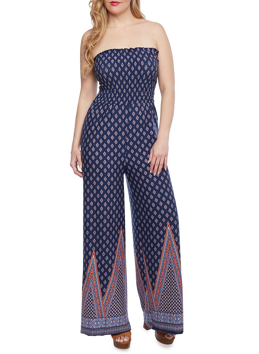 fda0b2c8c73a Plus Size Strapless Smocked Jumpsuit with Boho Print and Wide Legs ...