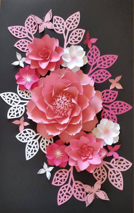 1 Jeu De Collage De Fleurs De Papier En Rose Vif Rose Pale Rose