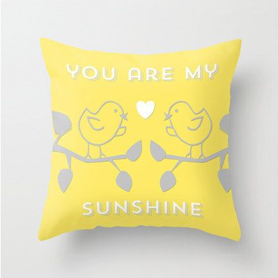 You Are My Sunshine Nursery Pillow Decorative Throw Pillows Grey Yellow White Cover Home Decor