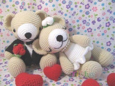 Cute Bear wedding - PDF crochet pattern | Muster, Häkeln und ...