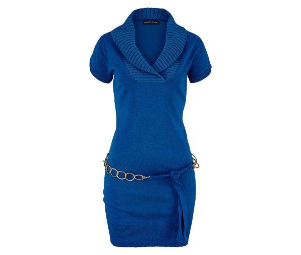 rochie scurta tricotata albastru royal