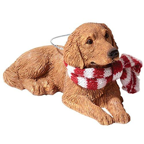 Sandicast Golden Retriever With Red And White Scarf Christmas