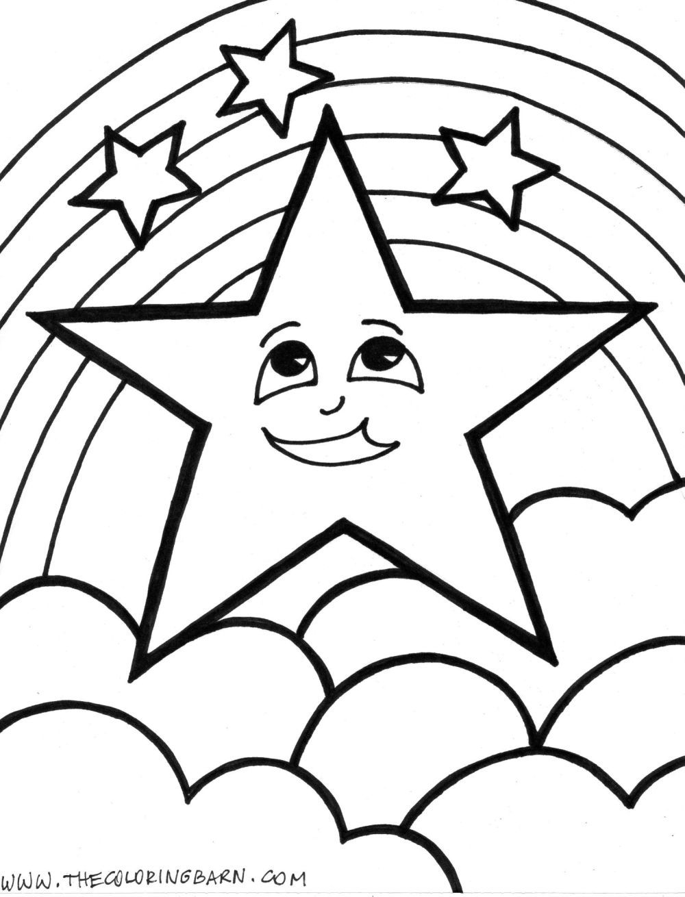 Rainbow colouring in pages - Star Coloring Page