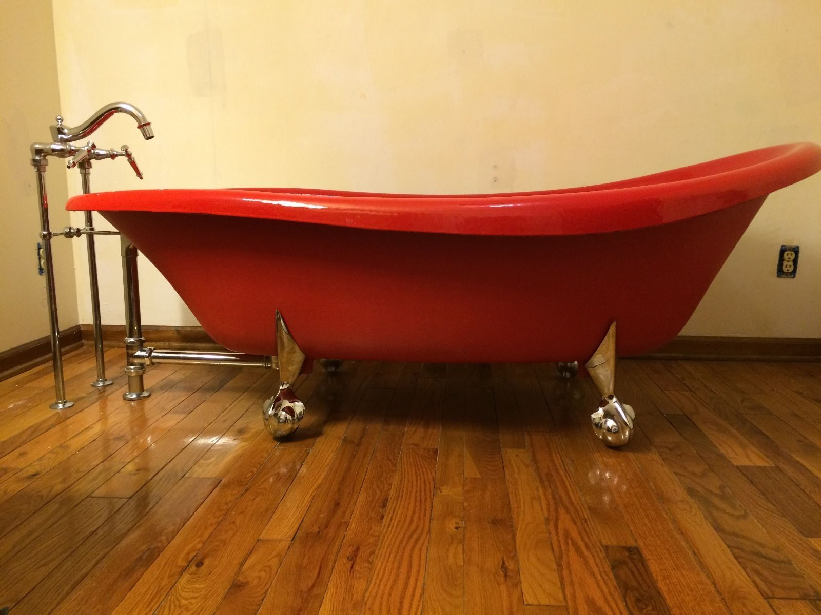 Red Kohler Birthday Bath Claw Foot Tub